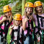 group of young girls after the zip line adventure